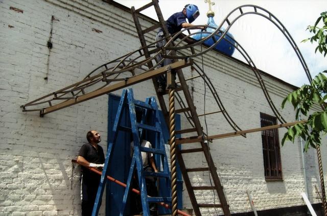 Реконструкция навеса 09,07,2010г